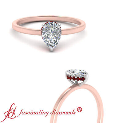 Pear Shaped Diamond And Ruby Gemstone Two Tone Petite Engagement Ring For Women