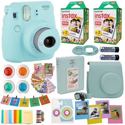 Fujifilm Instax Mini 9 Ready-mixed Camera Ice Blue + 40 Film All in One Acc Sheaf