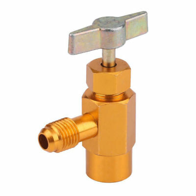 """R134a Refrigerant Can Bottle Tap Tapper Opener Connector 1/4"""" SAE M16 Valve Gold for sale  Humble"""