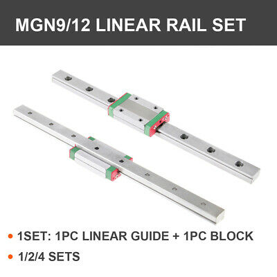 1/2/4PCS MGN9H MGN12H Miniature Linear Slide Rail Guide + Block CNC 3D Printer
