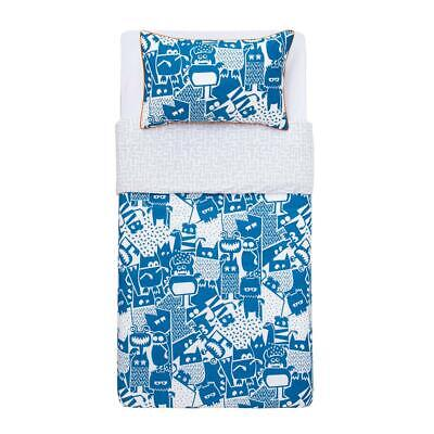 Kas Kids Howie SINGLE Quilt Cover Set- Blue Monsters, Reverse Design, Piped Edge