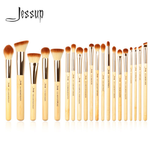 US Jessup 20pcs Bamboo Makeup Brush Set Cosmetic Brushes Kit