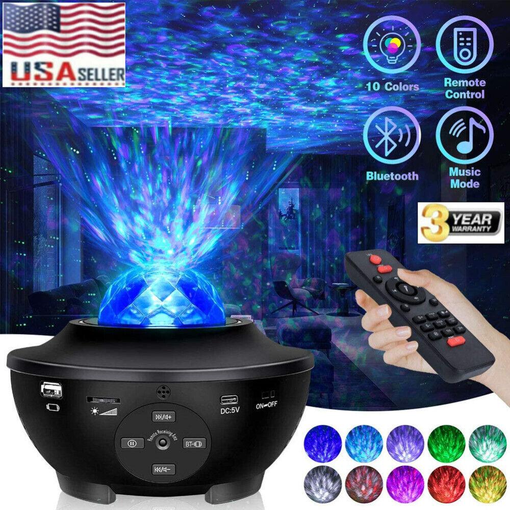 USB Bluetooth LED Starry Light Sky Galaxy Projector Ocean Wave Star Night Lamp