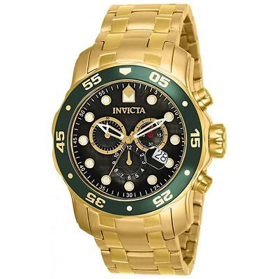 $88.99 - Invicta 80074 Mens Pro Diver Black Dial Gold Plated Steel Bracelet Chrono Watch