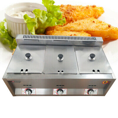 Deep Fryer 6l 3 Commercial Countertop French Fries Fried Chicken Gas Fryer