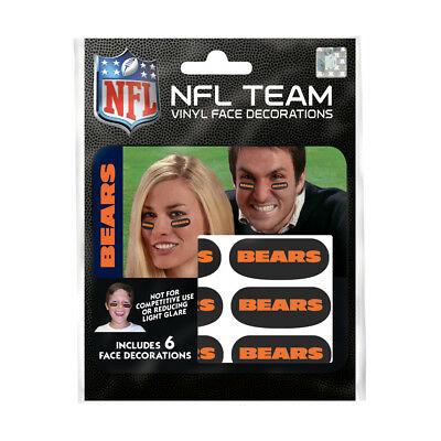Chicago Bears Black Face (Chicago Bears Eye Black Strips 6 High Quality Vinyl NFL Face Decorations )