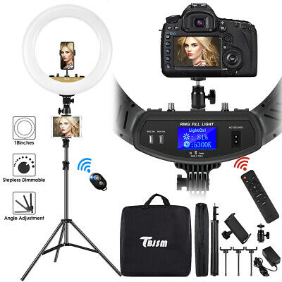 "18"" LED Ring Light Kit with Stand Dimmable 6000K For Makeup Phone Camera Youtube"