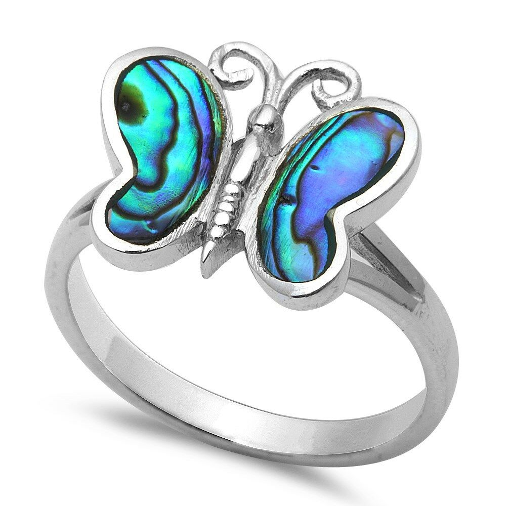 Emerald Butterfly .925 Sterling Silver Ring Sizes 5-9