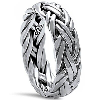 Men's Plain Braided Band .925 Sterling Silver Ring Sizes 6-13