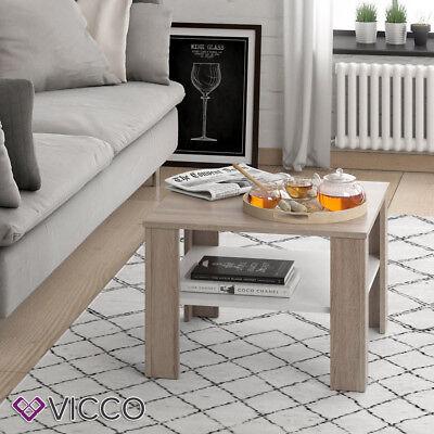 VICCO Couchtisch HOMER Sonoma Eiche Weiß 60x60  Wohnzimmer Sofatisch Kaffeetisch ()