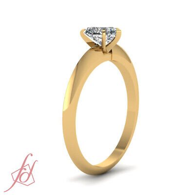 1/2 Ct Heart Shaped FLAWLESS Diamond Solitaire Knife Edge Engagement Ring GIA 2