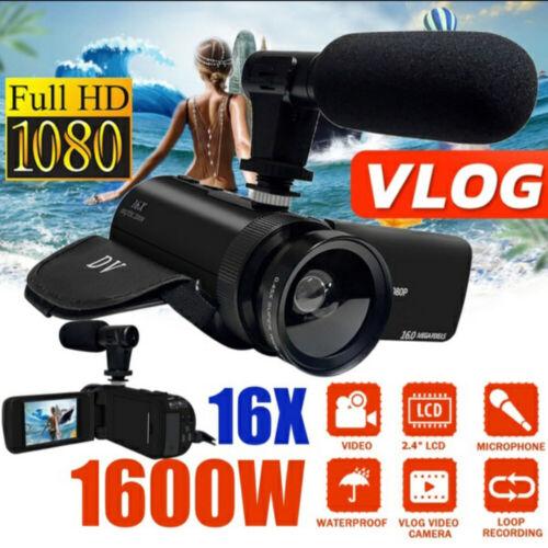 HD 1080P Digital Video Camera Camcorder YouTube Vlogging Recorder W/Microphone Cameras & Photo