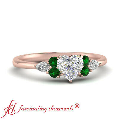 3/4 Carat Heart Shaped Diamond Wedding Ring With Pear Shaped And Emerald Accents
