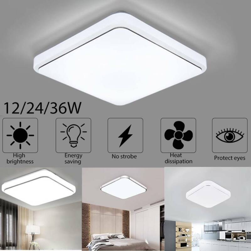 Bright 24W Square LED Ceiling Down Light Panel Wall Bathroom Lamp White 30cm UK