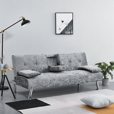 3 Seater Click-Clack Fabric Sofa Bed Sofabed Recliner Settee Couch Drink Holder