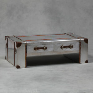 Large Industrial Vintage Style Silver Metal Travel Trunk Coffee Table New Ebay