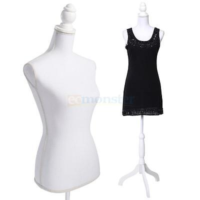 Female Mannequin Torso Clothing Display W/ White Tripod Stand Fiberglass New