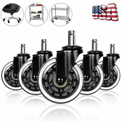 5pack Office Chair Casters 3 Swivel Wheels Replacement Heavy Duty Floor Protect