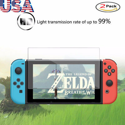 2 Pack Premium Real Tempered Glass Screen Protector Cover for Nintendo Switch US