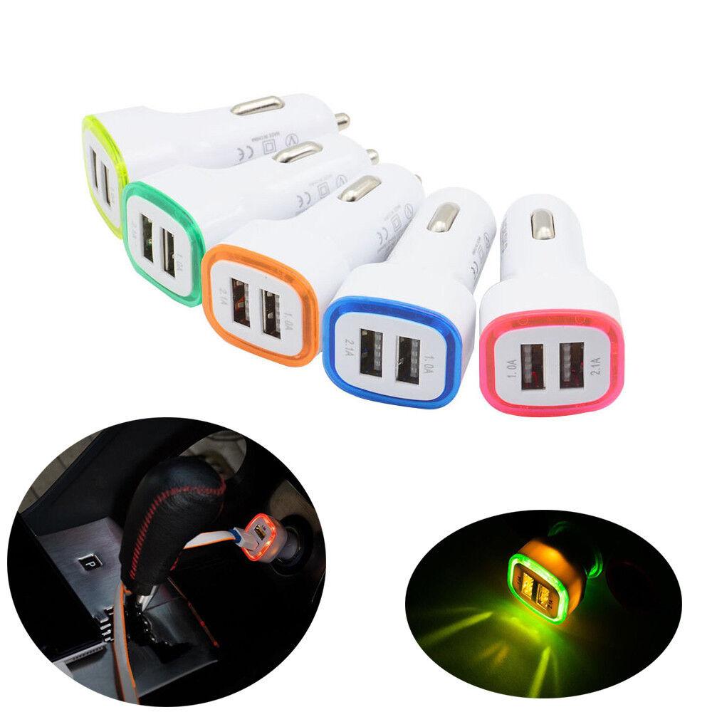 Multi-Color LED Dual USB Car Charger 2 Port Adapter Socket L