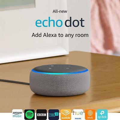 Amazon Echo Dot (3rd Gen) - Smart speaker with Alexa - Heather Grey Fabric-NEW !