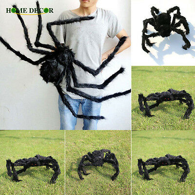 1PCs Fake Spider Prank Gift New Halloween Horrible Big Black Furry Spider Decor