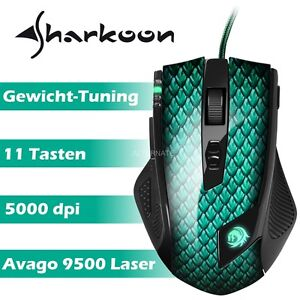 Gaming Maus Sharkoon Drakonia Mouse 5000 dpi Optisch Kabel Gewichte USB Gamer