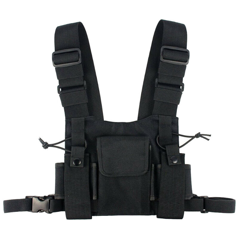 Radio Chest Harness Front Pack Hands Free Pouch Walkie Talkie Holster Vest Rig