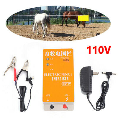 110v Solar Electric Fence Energizer Charger High Voltage Pulse Display Screen