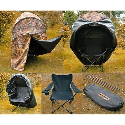 Pro Hunting Chair Ground Blind Real Tree Camo Tent One Man Hunt Turkey Deer Duck