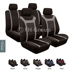 FH Group Sports Seat Covers Airbag Safe & Rear Split Full Set Gray / Black