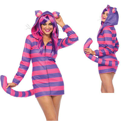 Womens Sexy Cozy Cheshire Cat Halloween Costume - Halloween Cat Costumes For Women