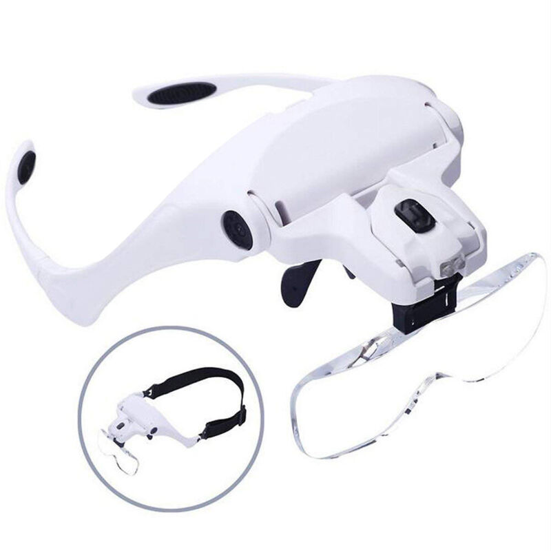 5 Lens Magnifying Glass LED Light Head Loupe Jeweler Watch Bright Magnifier