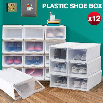 STACKABLE Bright PLASTIC SHOE BOX W/ LIDS STORAGE CLOSET ORGANIZER SET OF 12