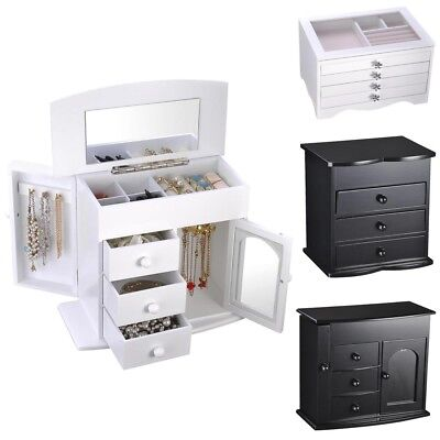 Jewelry Storage Box Case Built-in Mirror Watch Ring Earring Necklace Organizer (Necklace Boxes)