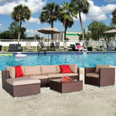 Garden Furniture - 7PCS Outdoor Patio Sectional Furniture PE Wicker Rattan Sofa Set Garden Yard