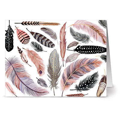 24 Note Cards - Feather Motif on White - Gray Envs