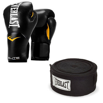 Everlast Elite Pro Boxing Gloves Size 14, Black and 120 Inch Hand Wraps, Black