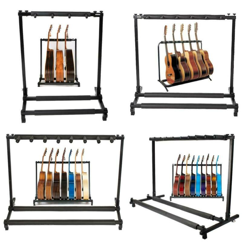 3/5/7/9 Triple/Five/Seven Multiple Guitar Bass Stand Holder Stage Folding Rack