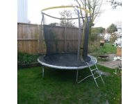 Garden trampoline by Sports Power, 8ft, diameter, two years old, cost around £140, buyer to collect