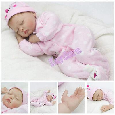 22inch Silicone Vinyl Reborn Baby Doll Newborn Girl Sleeping Dolls  Xmas Gift US