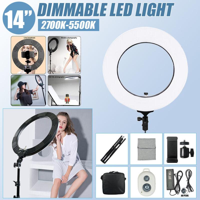 "14"" 5500K Dimmable LED Ring Light Kit Camera Photo Video Selfie Makeup+Triopd"