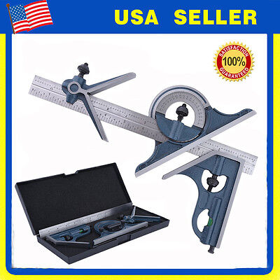 """Blem Cosmetic Second PEC 12"""" 4R 4 pc combination machinist square protractor NEW"""