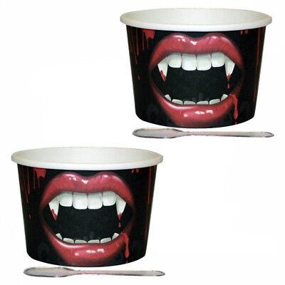 12 Halloween Fangtastic Vampire Bite Party Paper Dessert Pots Cups & Spoons