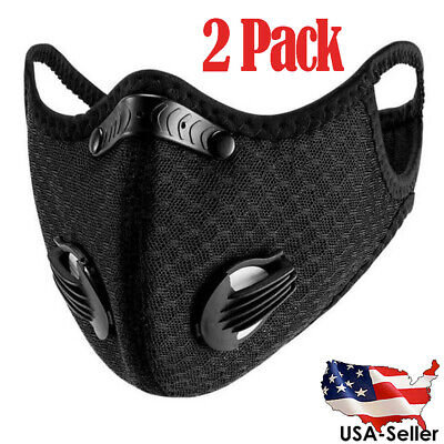 2PCS Sport Cycling Face Mask With Active Carbon Filter Breathing Valves Washable