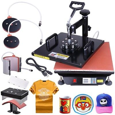 15x15 5in1 Digital Transfer Sublimation Heat Press Machine T-Shirt Mug w/ Gloves
