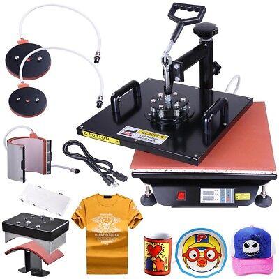 15x15 5in1 Digital Transfer Sublimation Heat Press Machine T-Shirt Mug w/ Gloves