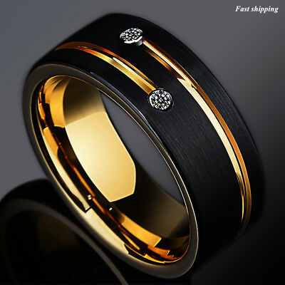 8mm Black Brushed Tungsten Ring Gold Grooved Line Diamond ATOP Men Wedding (Brushed Tungsten Wedding Band)