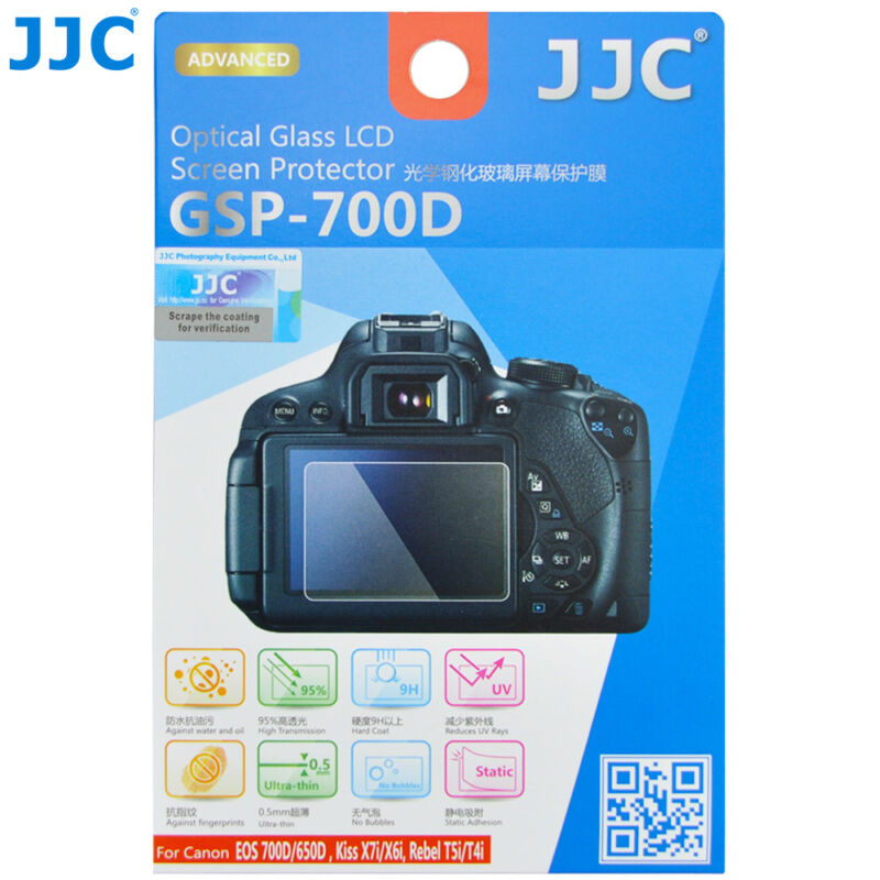 JJC Ultra-thin TEMPERED Glass LCD Protector Canon Kiss X7i X6i Rebel T5i T4i