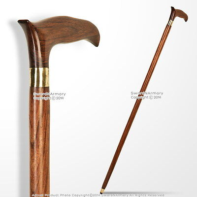 "36.5"" Handmade Sheesham Wood Gentleman Walking Cane Stick with Brass Neck"